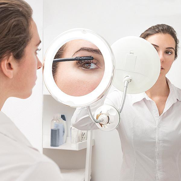 LED Sminkspegel med Sugkopp / Förstoringsspegel - Smink Spegel