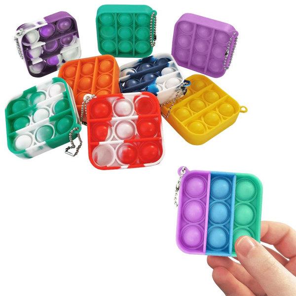 Mini Pop It Fidget Toys - Leksak / Sensory - Välj färg Tie Dye (Blå)