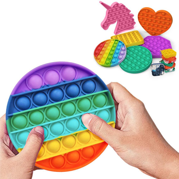 Pop It Fidget Toys - Leksak / Sensory - Välj modell & färg MultiColor Oktagon - Multifärg