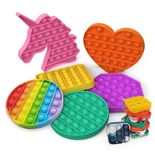 Pop It Fidget Toys - Leksak / Sensory - Välj modell & färg Yellow MINI Helfärgad (Gul)