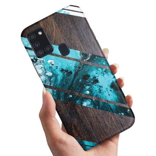 Samsung Galaxy A21s - Skal / Mobilskal Blått Konstmönster
