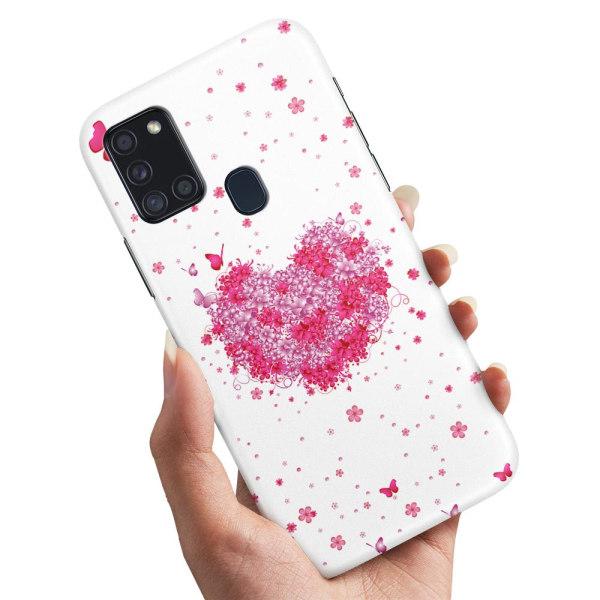 Samsung Galaxy A21s - Skal / Mobilskal Blomhjärta