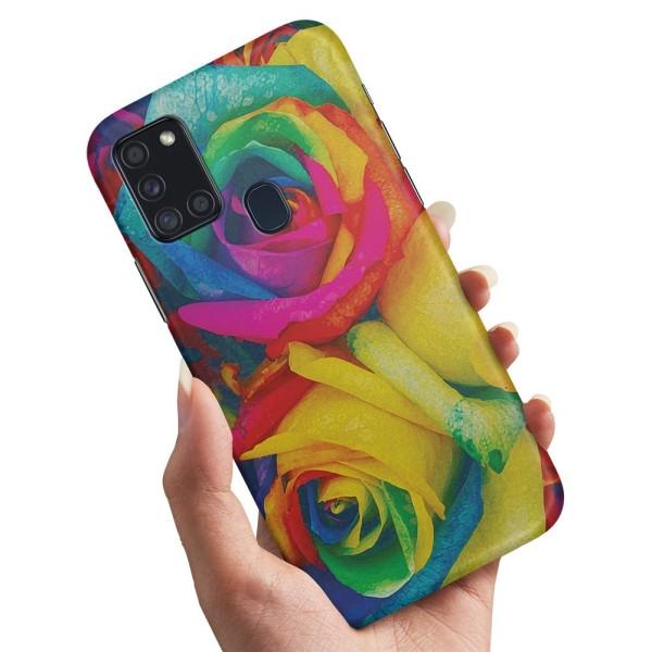 Samsung Galaxy A21s - Skal / Mobilskal Färgade Rosor