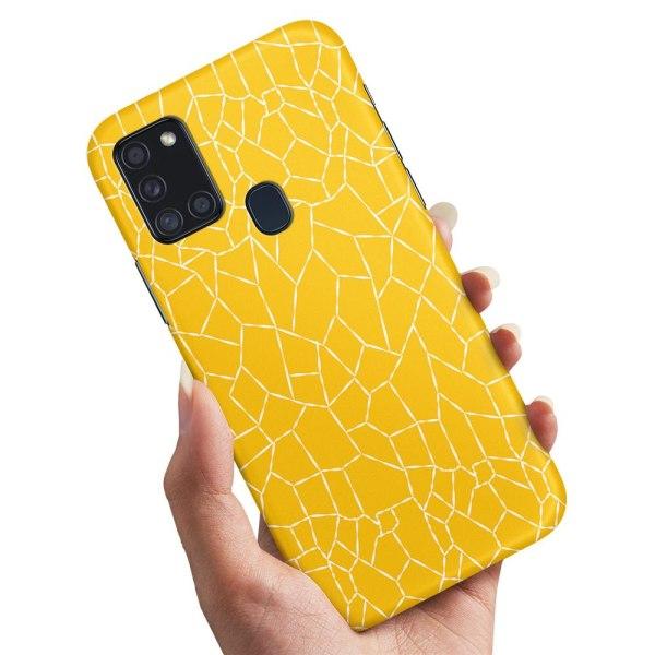 Samsung Galaxy A21s - Skal / Mobilskal Gult Mönster