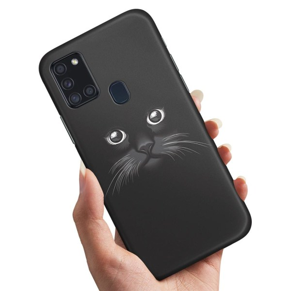 Samsung Galaxy A21s - Skal / Mobilskal Svart Katt