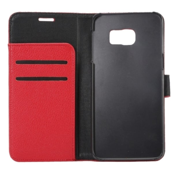 Samsung Galaxy S6 Edge Plus - Plånboksfodral Lyché Läder - Röd red