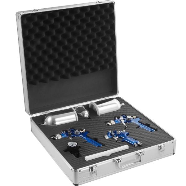3 HVLP sprutpistol (0,8+1,3+1,7mm) + väska Blå
