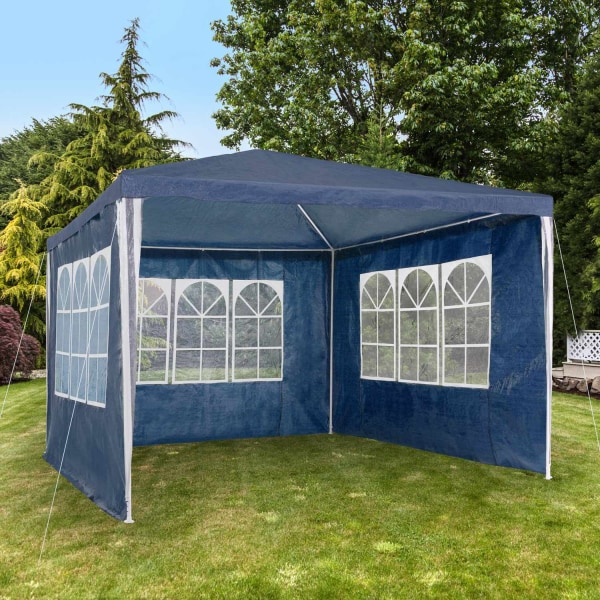 Partytält 3x3m med 3 sidodelar Blue