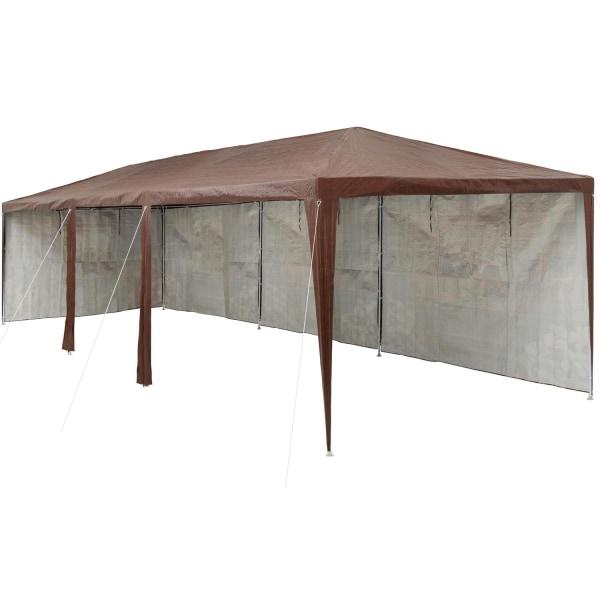Partytält 9x3 m med 8 sidodelar brun