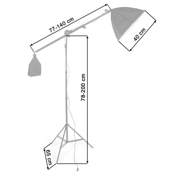 Studiolampor set med glödlampa + softbox Svart