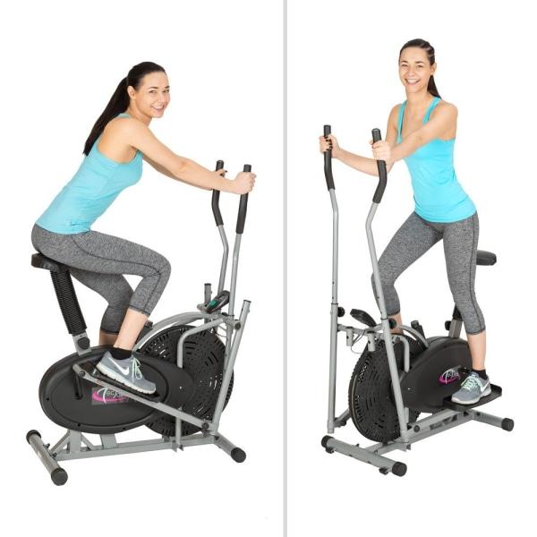 tectake 2 i 1 crosstrainer och motionscykel med LCD display Svart