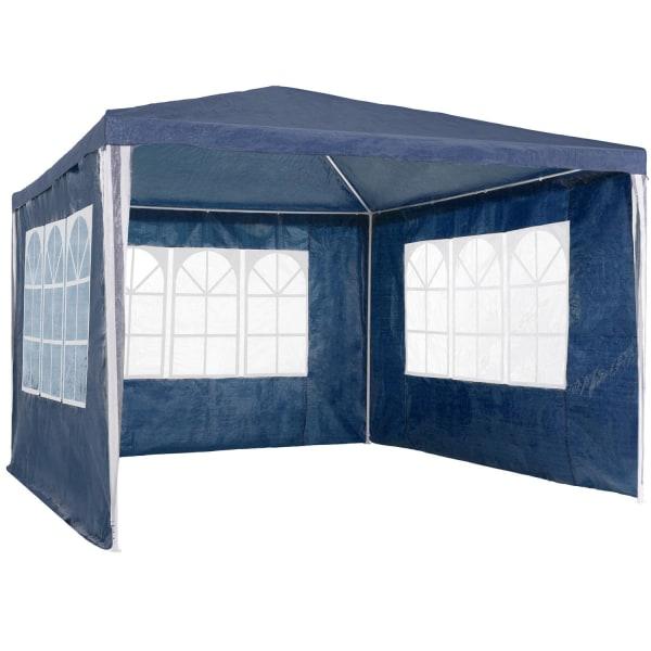 tectake Partytält 3x3m med 3 sidodelar Blå