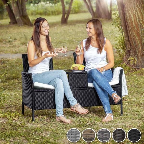 tectake Trädgårdsbänk med bord i konstrotting grå
