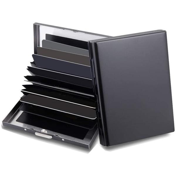 10 Fack XL Design Rostfritt Korthållare för minst 10st kort Svart