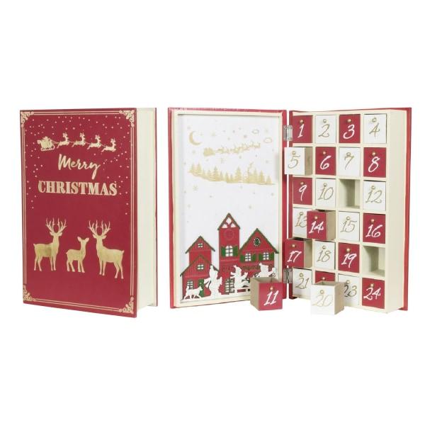 Återanvändbar Handtillverkad adventskalender Bok i trä m 24lådor