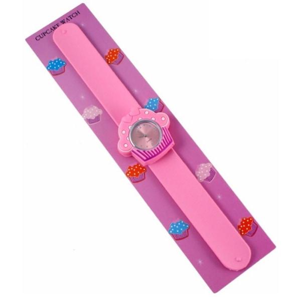 Girls Cupcake klocka - barnklocka Rosa