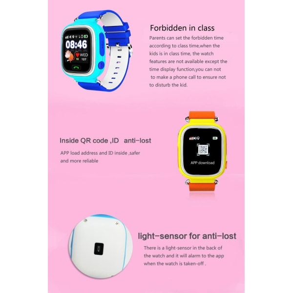 GPS+LBS Smartklocka Stegräknare mm för barn. Sim-kort Medföljer Orange