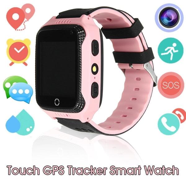 GPS+LBS Smartklocka Stegräknare mm för barn. Sim-kort Medföljer Rosa