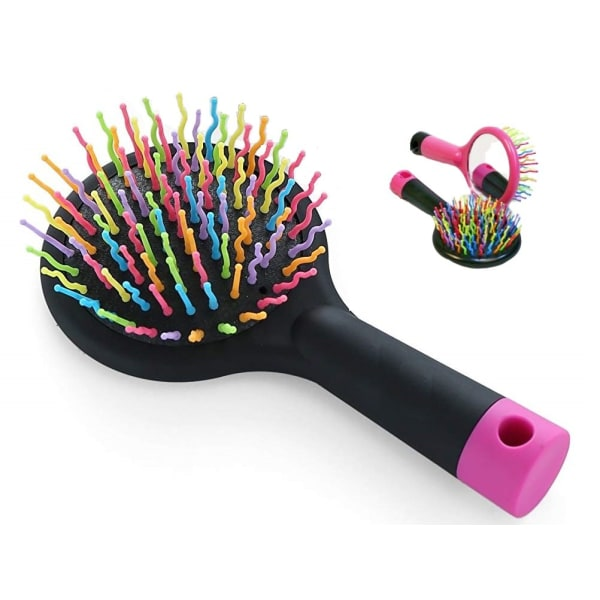 Rainbow färgrik cirkulär hårborste med spegel på baksida