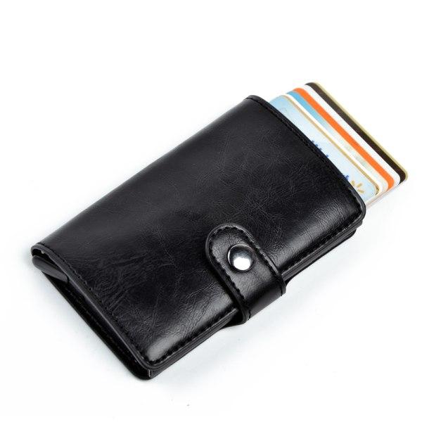 RFID-Säkert korthållare skjuter fram 6st kort m läderjacka o sed Ljusbrun