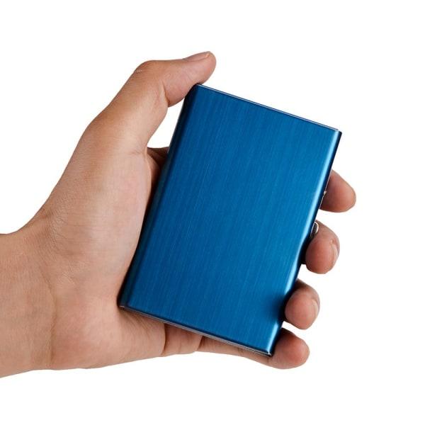 Stilren Exklusiv stål Korthållare / Plånbok - RFID Säker Blå
