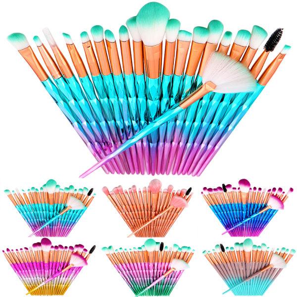 20PCS Professional Make Up Brusher Diamond Handle Blusher Pink-Purple