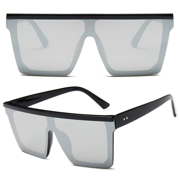 Fashion Ladies Big Frame Outdoors solglasögon Show Small Face Black and white mercury