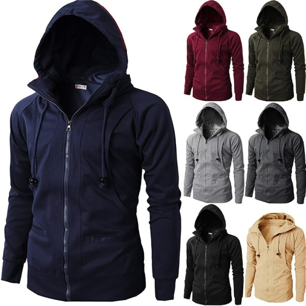 Autumn Winter Mens Fashion Pure Color Zipper light grey 3XL