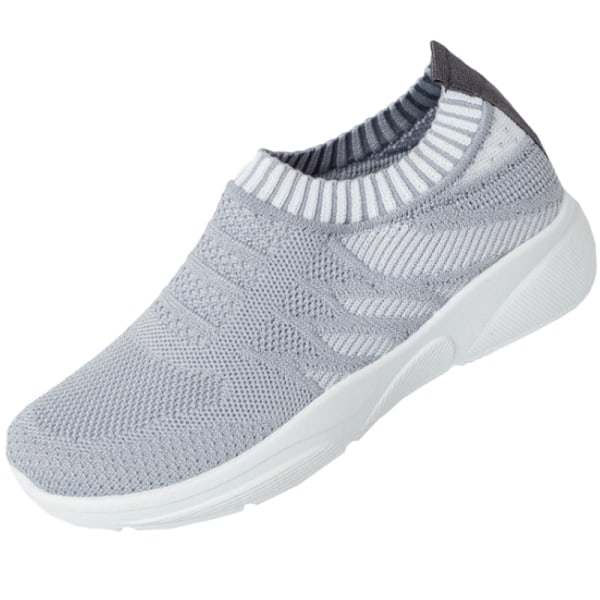 Autumn Women Breathable Mesh Running Shoes Soft gray 37