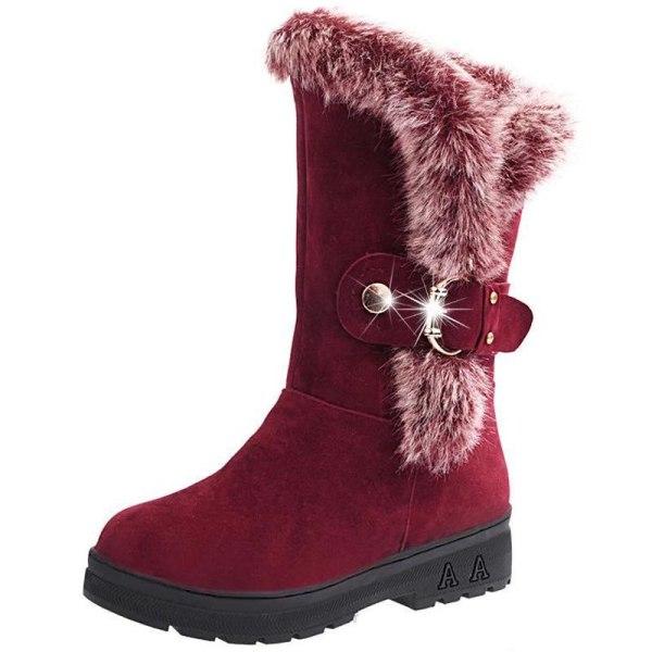Casual Thicken Fur High Heel Vintage Heel wine red 41