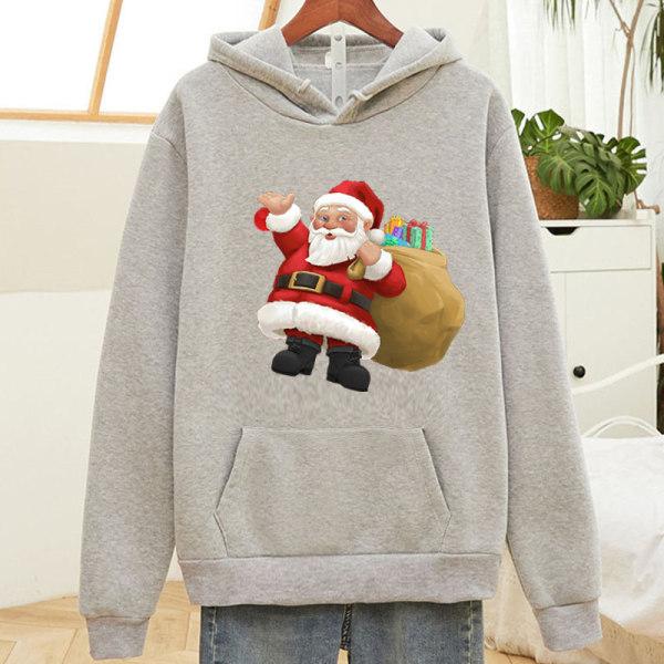 Christmas Unisex Santa Hoodie Pullover Sweatshirt Xmas Baggy Top Grey L