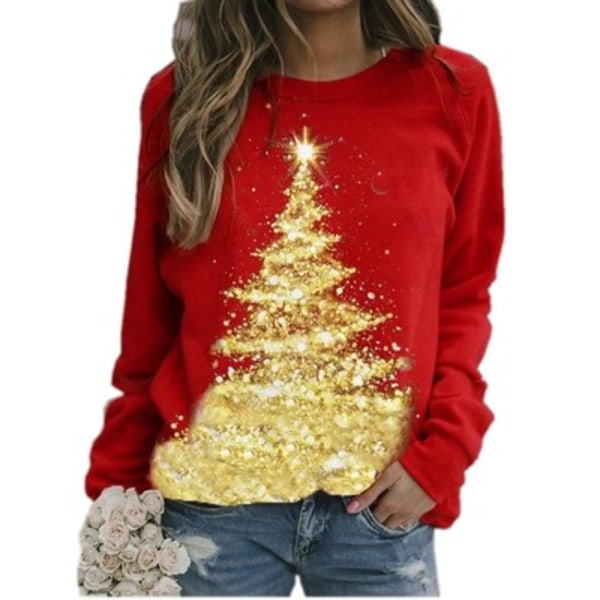 Christmas Women Print Long Sleeve Pullover Round Neck Tops M