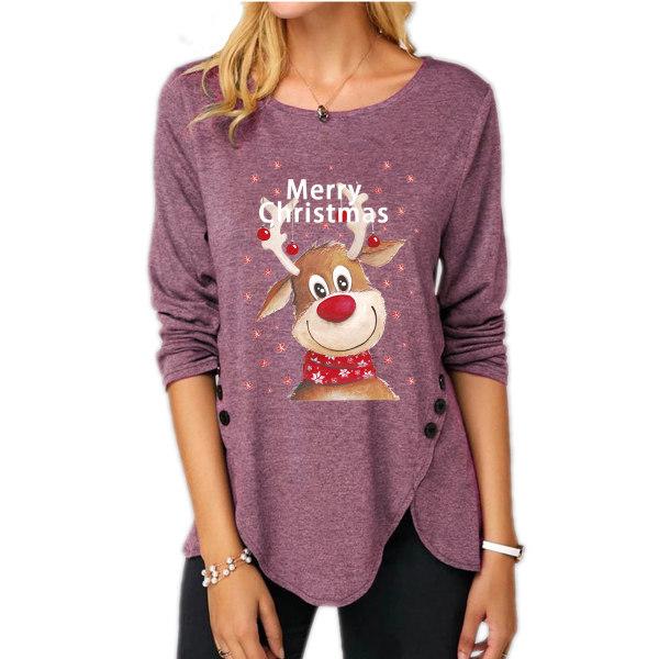 Christmas Womens Elk T-Shirts Xmas Ladies Tunika Toppar Red 2XL