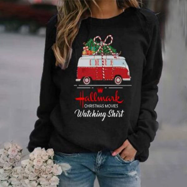 Christmas Womens Long Sleeve Tops Sweatshirt Car Letter Printed S
