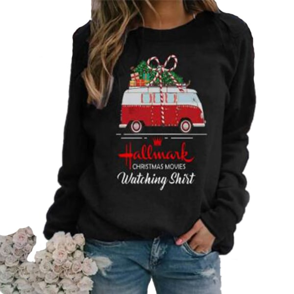 Christmas Womens Long Sleeve Tops Sweatshirt Car Letter Printed M