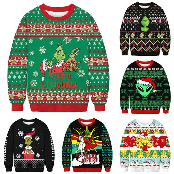 Par julgrön päls Monster Print rund hals tröja As pics XL