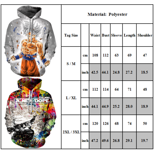 Couple Hooded Sweater Dragon Ball Anime Digital Printing Top Black-Red L/XL