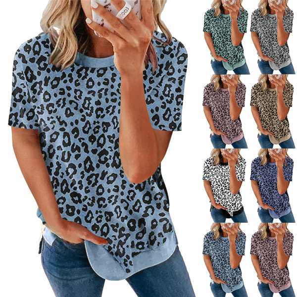 Crew Neck Leopard Print Kortärmad T-shirt Top för kvinnor Blue S
