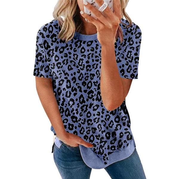Crew Neck Leopard Print Kortärmad T-shirt Top för kvinnor Navy blue M