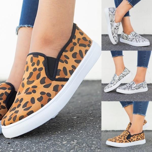 Fashion Women's Slip on Loafers Leopard grey snake skin print 43