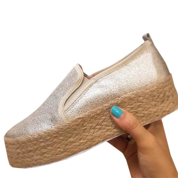Fashion Women Solid Color One Foot Platforms silver 41