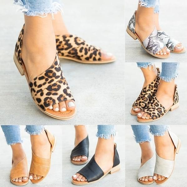 Women Summer Leopard Snakeskiin Sandals Peep Toe grey snake skin print 43