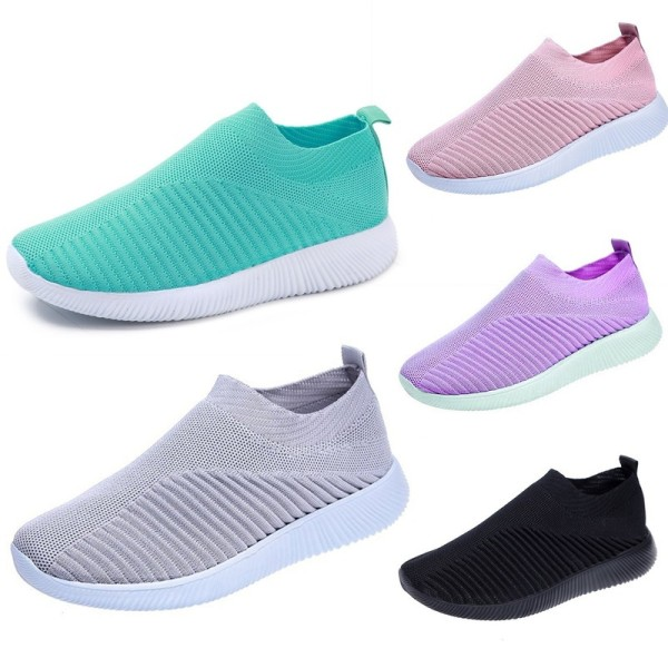 Fashion Womens Knit Walking Shoes Tennis Sports purple 36