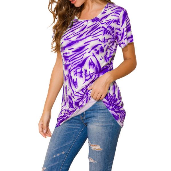 Fashionabla rund hals Casual kortärmad topp mors dag gåva Purple 2XL