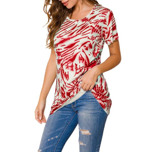 Fashionabla rund hals Casual kortärmad topp mors dag gåva Red M