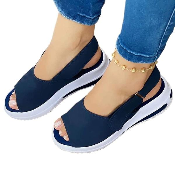 Fashionabla kvinnans fiskmunnen platta skor sandaler för sommaren Blue 37