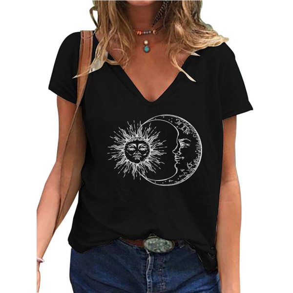 Fashionabla kvinnans V-ringning Kortärmad blus Casual pendling Black XL