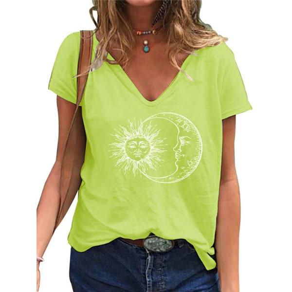 Fashionabla kvinnans V-ringning Kortärmad blus Casual pendling Yellow 5XL