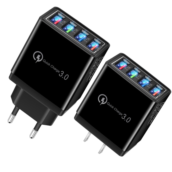 Fast Charger 4USB Wall Adapter 5V3A Bllack
