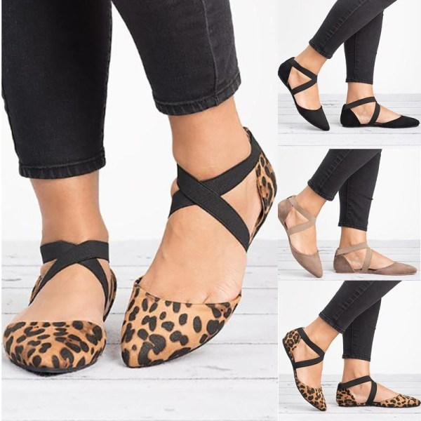 Flat Heel Shoes Woman Causal Vintage Causal leopard 42